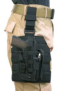 View Pantac MOLLE Style Leg Panel with Holster (Black/ CORDURA) details
