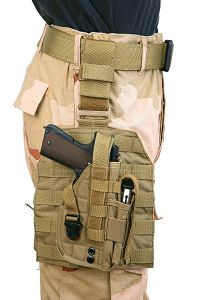 View Pantac MOLLE Style Leg Panel with Holster (Khaki / CORDURA) details